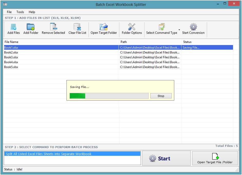 Batch Excel Workbook Splitter