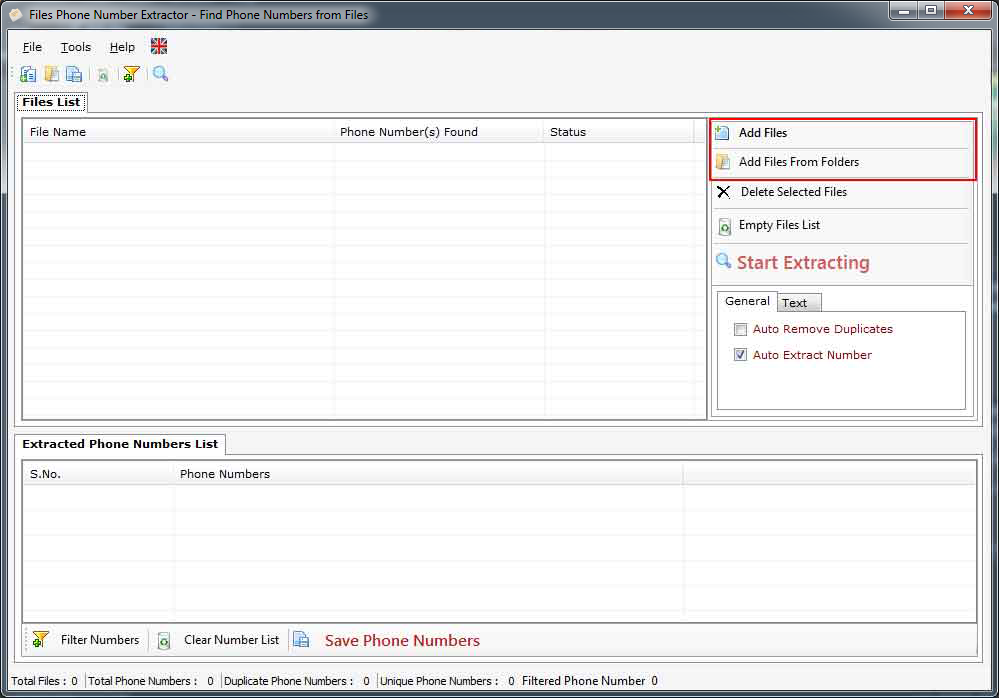 Files Phone Number Extractor