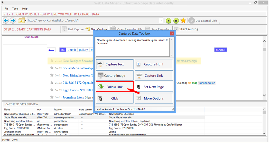 Find how to scrape data from websites with Web Data Miner