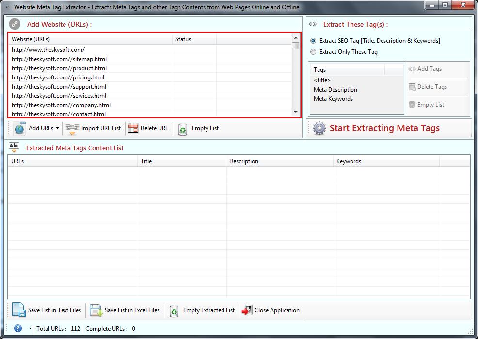 Windows 7 Website Meta Tag Extractor 3.6.1.22 full